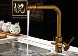 Смеситель (кран с питьевой водой) на кухню для мойки раковины или умывальника бронза однорычажный, фото 4