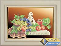 Схема для частичной вышивки бисером - Бокал вина и фрукты, Арт. НБч3-15