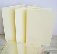 Заготовка для открытки кремовая 10*15 см.,300г/м2 с упаковкой прозрачной на клапане