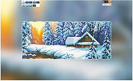 "Схема для вышивки бисером ""Зимний закат"", на холсте 15х30 см"