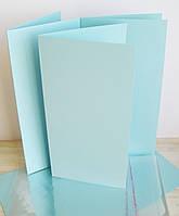 Заготовка для открытки голубая 10*20 см.,230г/м2 с упаковкой прозрачной на клапане