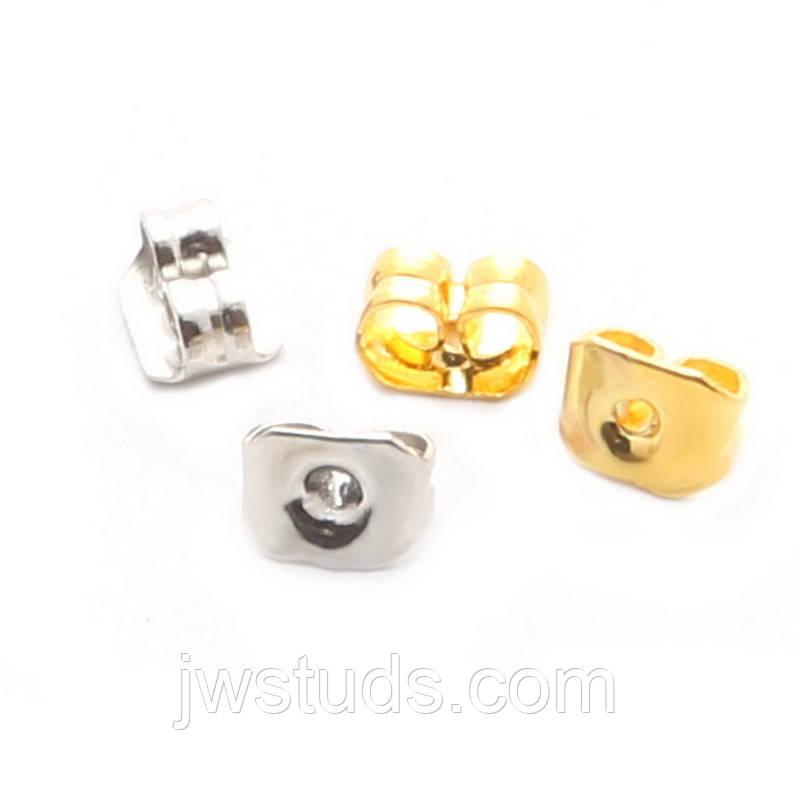 """Застежка для серег металлическая """"Завиток"""" цвет белый и желтый 2 пары (4 шт)"""