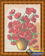 Схема для вышивки бисером - Полевые маки в глиняной вазе, Арт. НБп3-29-1
