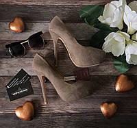 Шикарные туфли-лодочки ZARA BAZIC из замшевого текстиля с умопомрачительной шпилькой  SH0636