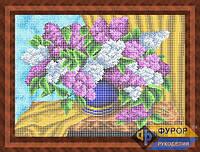 Схема для полной вышивки бисером - Сирень в вазе на столе, Арт. НБп3-45-2