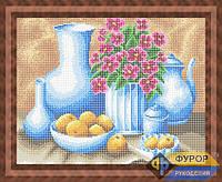 Схема для полной вышивки бисером - Натюрморт с посудой и цветами, Арт. НБп3-55