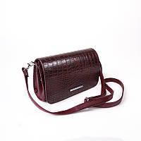Бордовая сумка-клатч крокодиловая через плечо