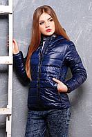 Женская короткая демисезонная куртка с капюшоном синяя