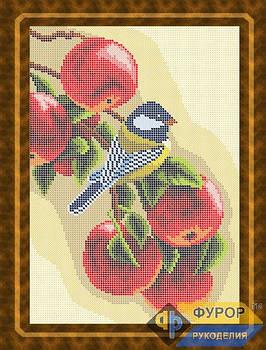 Схема для вишивки бісером картини Синичка на яблуках (ЖБп4-009)