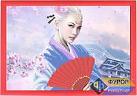 Схема для вышивки бисером - Девушка с веером около сакуры, Арт. ЛБч4-4