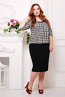 Черно-белое платье большого размера с принтом гусиная лапка Николь ТМ Таtiana  52-62  размеры