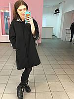 Пальто из кашемира с леопардовым воротником, цвет черный