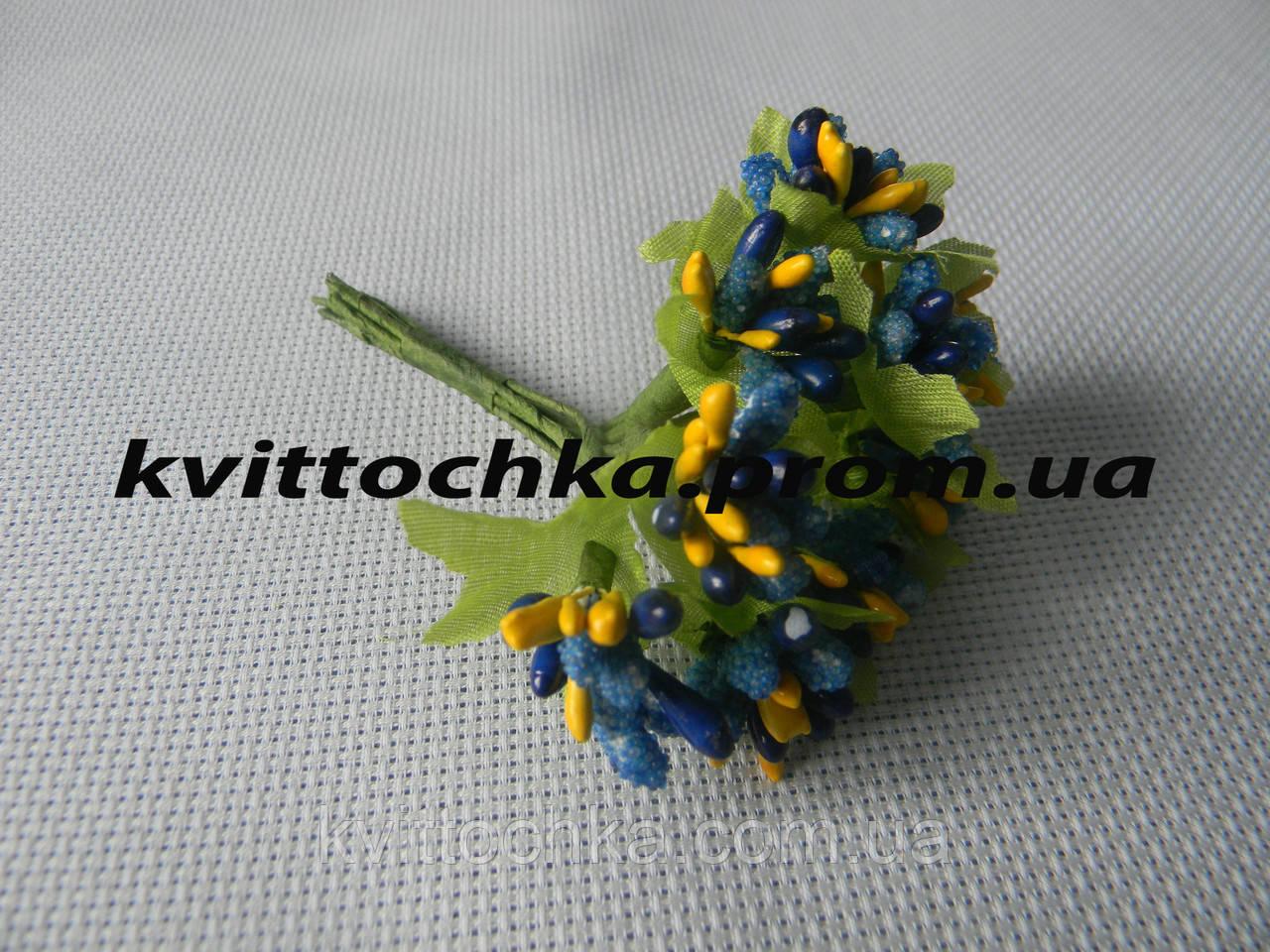 Соцветие тычинок цвет - синий с жёлтым