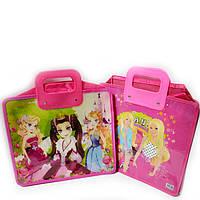 Сумка портфель на молнии для девочек пластиковые ручки