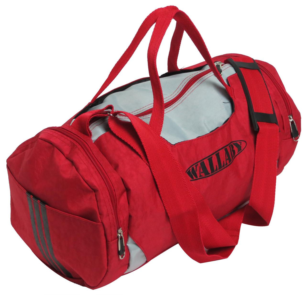 Сумка для спортзала Wallaby 216-1 (боченок), 20 л,  красная с серым