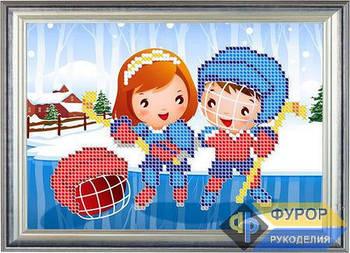 Схема для вышивки бисером картины Детская вышивка - дети и хоккей (ДБч5-011)