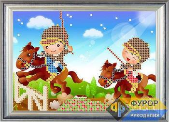 Схема для вышивки бисером картины Детская вышивка - дети и конные скачки (ДБч5-013)