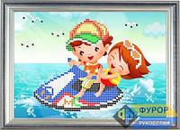 Схема для частичной вышивки бисером - Детская вышивка - дети и водный скутер, Арт. ДБч5-9