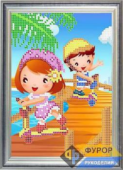 Схема для вышивки бисером картины Детская вышивка - дети и ролики (ДБч5-015)