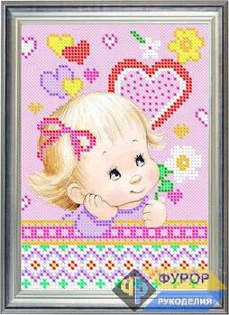Схема для вышивки бисером картины Детская вышивка - девочка и цветок (ДБч5-017)