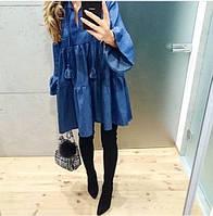 Платье женское короткое свободного кроя , ткань джинс, цвет темный и светлый джинс хорошее качество ах №01415