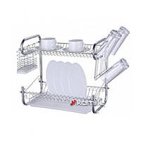 Сушилка для посуды двухъярусная 55×25.5×39.5 см Kamille 0767