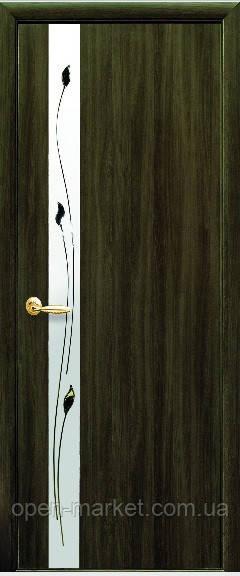 Модель Злата экошпон со стеклом сатин и рисунком межкомнатные двери, Николаев