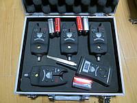 Набор сигнализаторов для рыбалки c пейджером BARRACUDA 4+1, сигнализатор поклевки, акустический , беспроводной