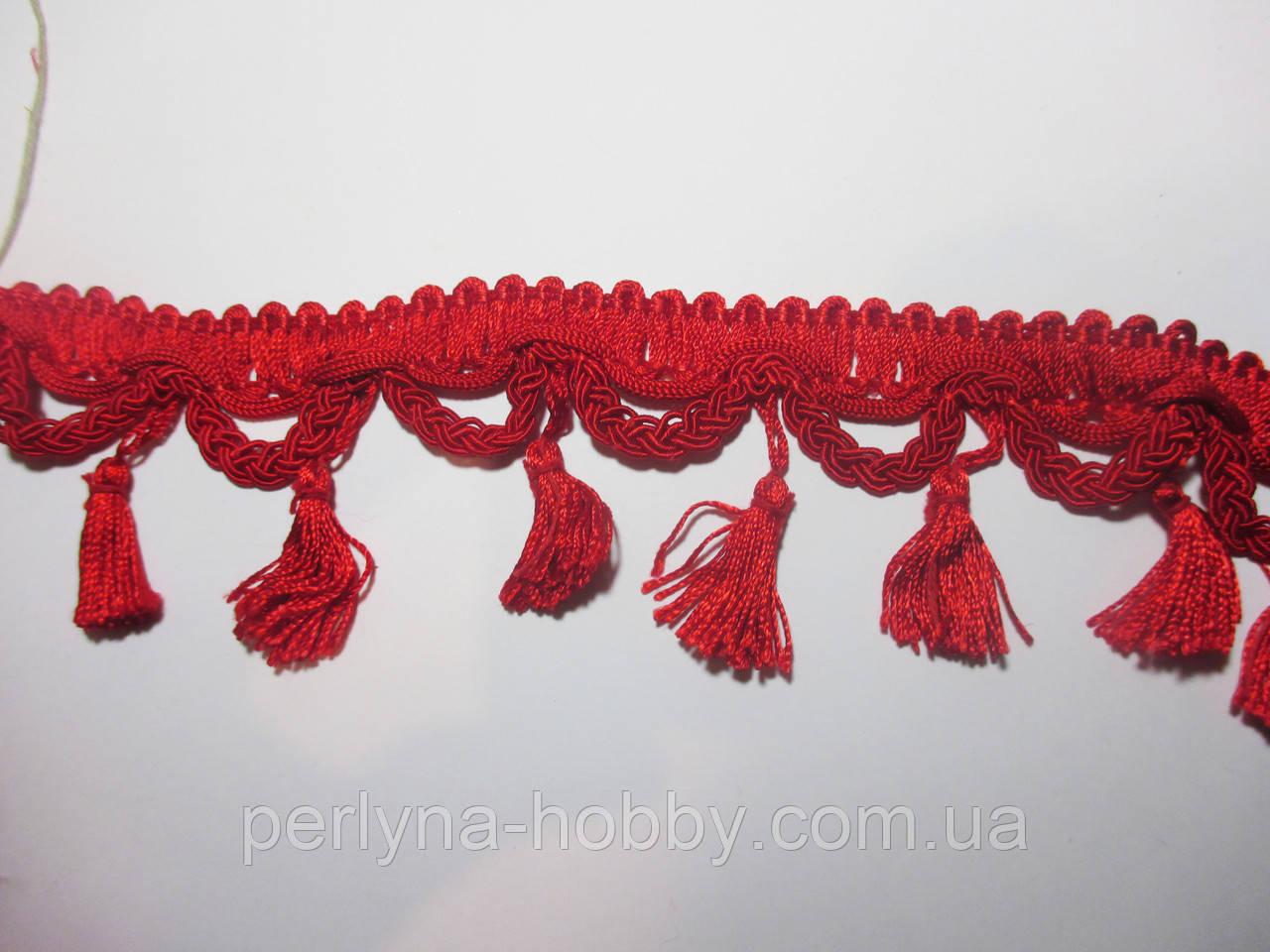 Бахрома шторна з китицями 6 див., червона