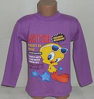 """Детский джемпер для девочек """"ТВИТТИ В ОЧКАХ""""4,5,6,7,8 лет, 100% хлопок.Детская одежда оптом"""