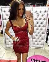 Женское мини платье с напылением