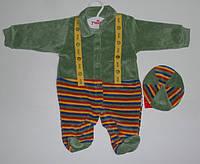 Велюровый Человечек+шапочка рост 62,68,74 см.  Детская одежда оптом Турция.