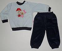 Велюровый Костюм для новорожденных рост 68,74,80,86 см.  Детская одежда оптом Турция.