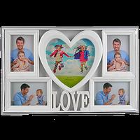 Фоторамка коллаж с сердцем на 5 фото c надписью love