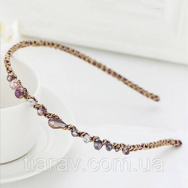 Обруч для волос хрусталик фиолетовый тиара