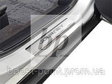 Защитные хром накладки на пороги  Dodge Journey (додж джорни 2008+)