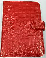 Чехол для планшетов с диагональю 7дм из искусственной кожи (красный\рептилия)