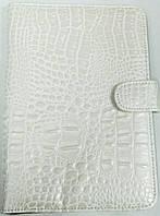 Чехол для планшетов с диагональю 7дм из искусственной кожи (белый\рептилия)