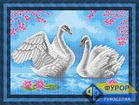 Схема для вышивки бисером - Пара лебедей на озере, Арт. ЖБп3-77