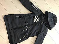 Куртка парка детская демисезонная для мальчиков 3-8 лет,черная
