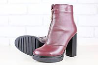 Демисезонные ботинки, бордовые, кожаные на толстом устойчивом каблуке, на байке, с оригинальным замочком посре