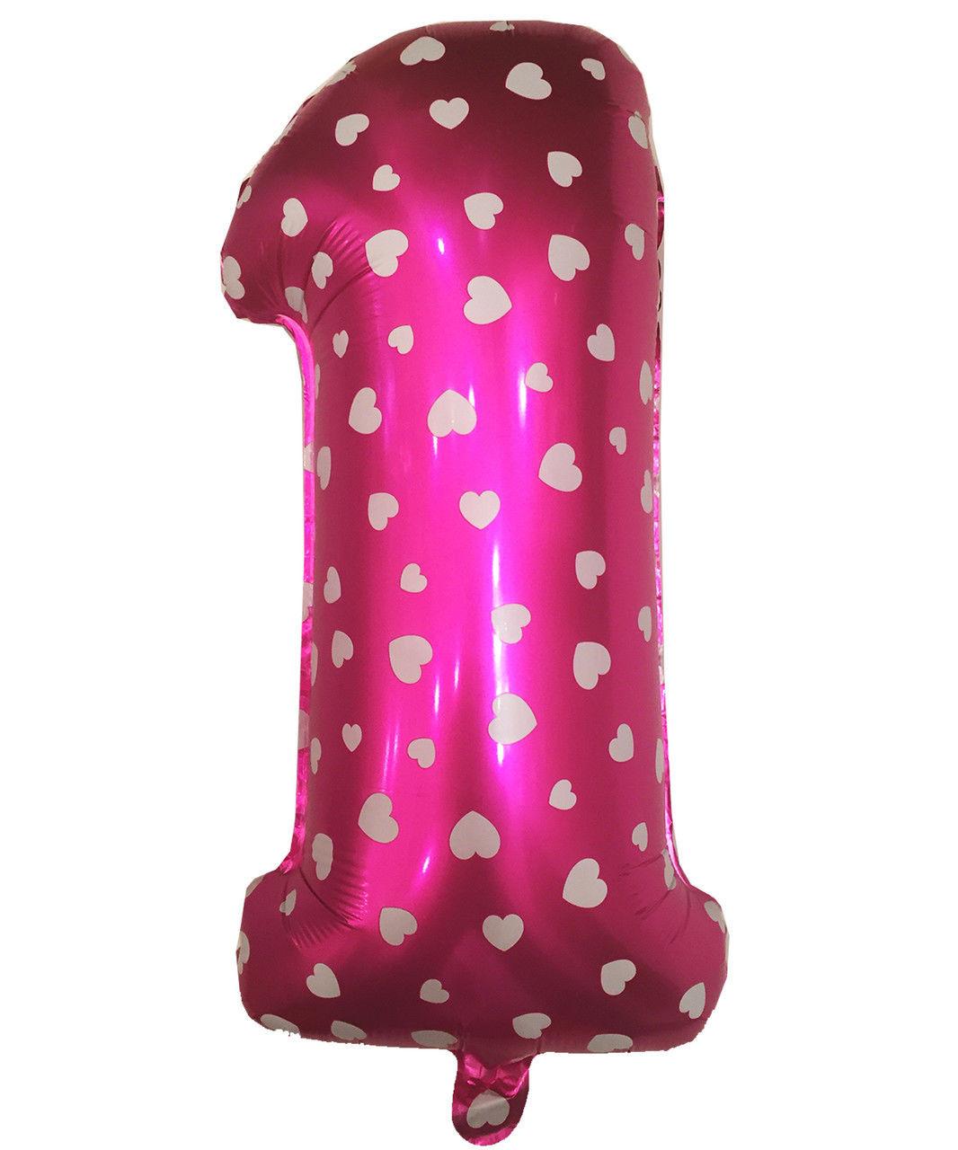 """Фольгированный шар цифра """"1"""" розовый с сердечками, высота 70 см"""