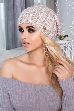Вязаная шапка Кимберли 4405 бежевый - Интернет-магазин «Модный шоппинг» в Харькове