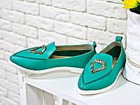 Туфли балетки мятного  цвета на белой подошве