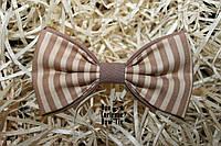 Галстук бабочка ручной работы - Stripe Beige