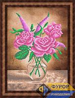 Схема для частичной вышивки бисером - Три розы в вазе, Арт. НБч3-80-2
