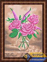 Схема для полной вышивки бисером - Три розы в вазе, Арт. НБп3-79-2