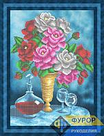 Схема для частичной вышивки бисером - Натюрморт из букета роз, графина с вином и бокалов, Арт. НБч3-91