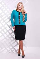 Трикотажное платье с пайетками  Амира ТМ Таtiana бирюза  54-60  размеры