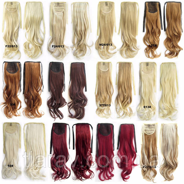 Шиньон хвост на ленте ТЕРМОСТОЙКИЙ блондин платиновый волнистый  кудрявый волосы